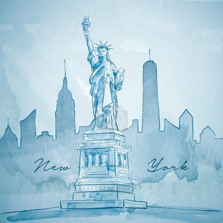 Pomnik Liberty z Nowym Jorku sylwetka miasta budynku