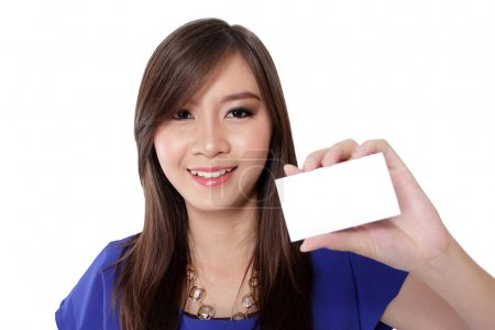 Beautiful woman with a white blank business card