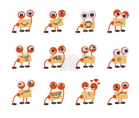 Funny cute monster emoticons set.