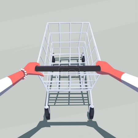 Female hands pushing empty shopping cart. Retro style illustration. Personal point of view. Layered file.