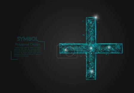 Illustration pour Image bleue isolée abstraite d'un signe plus ou croix. Illustration polygonale ressemble à des étoiles dans le ciel nocturne blasphématoire en spase ou éclats de verre volant. Conception numérique pour site web, web, internet - image libre de droit