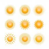 Set of yellow symbols of sun