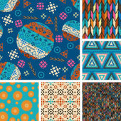 Set of seamless patterns with tribal boho-vector illustration Boho style design ethnic ornaments Triangles circles fashionable patterns and prints texture