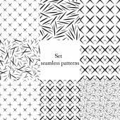 Seamless geometric patterns set monochrome short line crossing -vector illustration Black and white