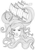 Coloring book page for adult Vector anti stress pattern image of beautiful girl's face with flowing curls and ship in the hair
