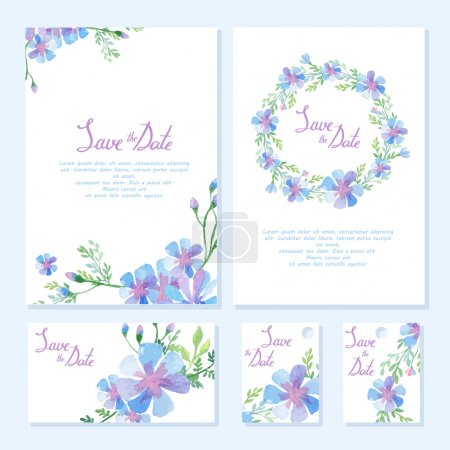 Illustration for Wedding design collection. Invitation cards with watercolor design. Floral frame element - Royalty Free Image