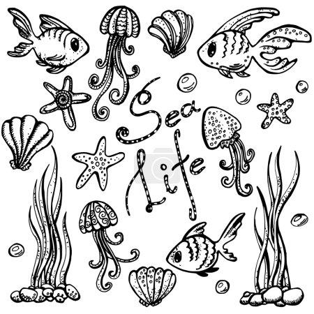 Illustration for Sea life set. Hand drawn doodles, black line art - Royalty Free Image
