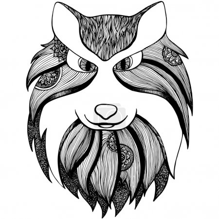 Illustration for Zentangle stylized image of totem animal: wolf. Adult anti stress page for coloring book. Hand drawn illustration in doodle style. Vector black isolated sketch - Royalty Free Image