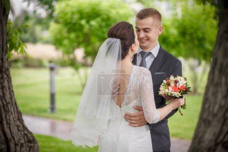 These romantic happy moments of wedding couple par...