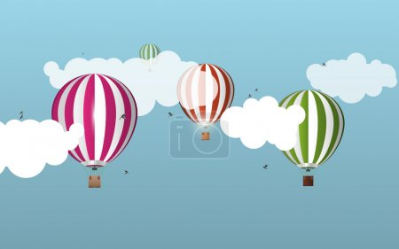 Air balloons in the sky. Landscape. Vector illustration