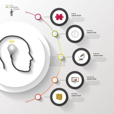 Illustration for Infographics. Head with bulb. Modern colorful circle with icons. Vector. - Royalty Free Image