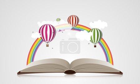 Illustration pour Concept créatif - Livre ouvert avec des ballons à air. Illustration vectorielle . - image libre de droit