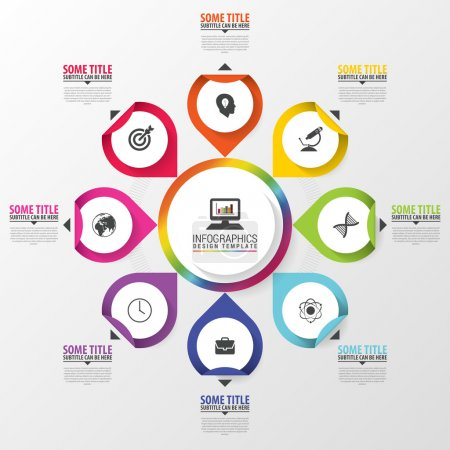 Illustration for Infographic. Business concept. Colorful circle with icons. Vector illustration. - Royalty Free Image