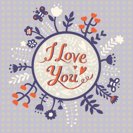 Photo for I love you Romantic card. Polka dot background. - Royalty Free Image