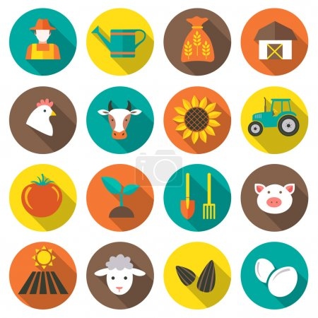Illustration for Set of farming, harvesting and agriculture icons, set of animals, plants, tools. Flat style icons in circles with long shadows. Vector illustration.. Vector illustration. - Royalty Free Image