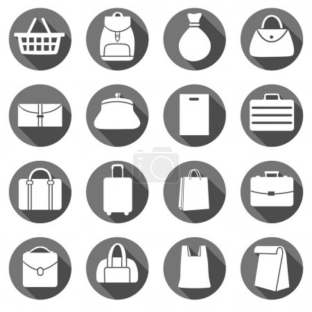 Illustration for Set of Bags Icons, flat style icons in circles with long shadows. Vector illustration. - Royalty Free Image