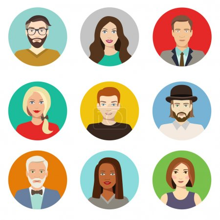 Illustration for Set of avatar flat design icons. Characters for web. Vector illustration - Royalty Free Image