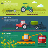 Agriculture tractors and harvester in cultivated  fields.