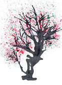 Old blossomed tree painted in ink