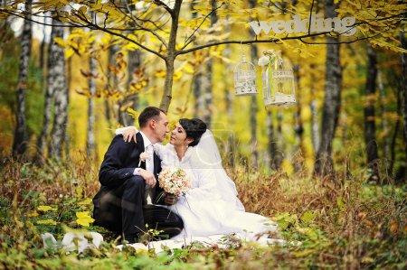 Photo pour Joyeux couple de mariage en journée d'automne avec signe Mme et M. - image libre de droit