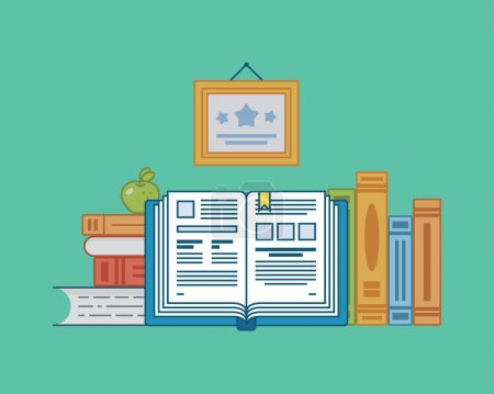 Vector illustration in flat design. Books on the t...
