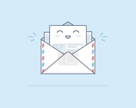 Simple cute smiling post letter on light blue background. Opening an e-mail. Good news.