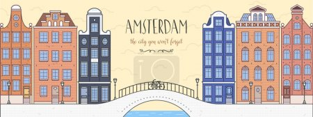 Poster with Amsterdam, Holland. Bridge, bicycle and houses.