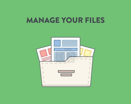 Vector illustration of a folder with documents in it, green background. Manage your files.