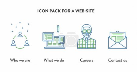 Icon pack for a web-site with icons displaying Who we are, Careers, Contact us. Web page building