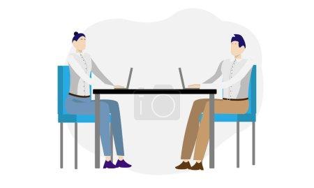 Illustration pour Bureau avec deux employés illustration vectorielle. Homme et femme travaillent sur des ordinateurs à la table. Concept de conception d'espace de travail. - image libre de droit