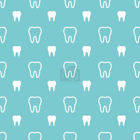 White teeth on turquoise background. Vector dental seamless patt