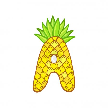 Letter A in the form of a pineapple.