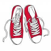 Vektorové Red sportovní tenisky s bílými tkaničkami, samostatný