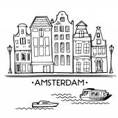 Background with hand drawn doodle Amsterdam houses Postcard background in black and white Illustration vector Scandinavian city
