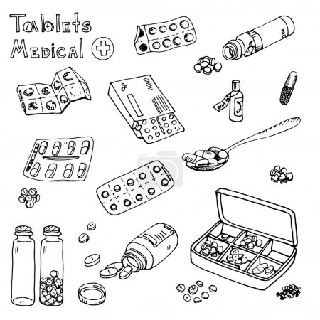 Illustration for Vector pills icons set background - Royalty Free Image