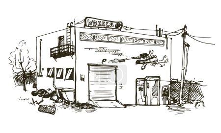 Hand drawn repair garage