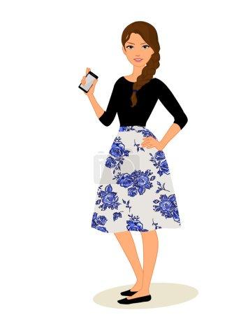 Illustration pour Filles mignonnes de dessin animé avec l'illustration de vecteur de téléphones mobiles - image libre de droit