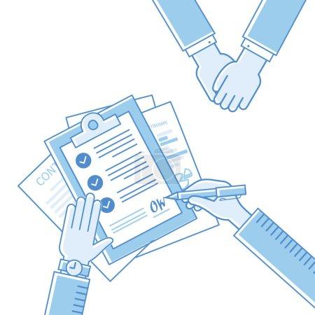Illustration pour Homme d'affaires mains tenant contrat et stylo, signature d'un contrat d'affaires traité dessin plat vecteur icônes linéaires illustration - image libre de droit