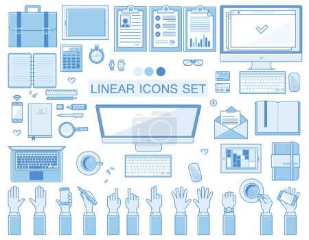 Vector linear workplace icons collection, flat style icons set of a top view, blue color.  Signs hand gestures. Workspace objects elements office worker, designer, manager, schoolchild. Stationery