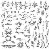 Set of Hand Drawn Black Doodle Design Elements Decorative Floral Dividers Arrows Swirls Scrolls Vintage Vector