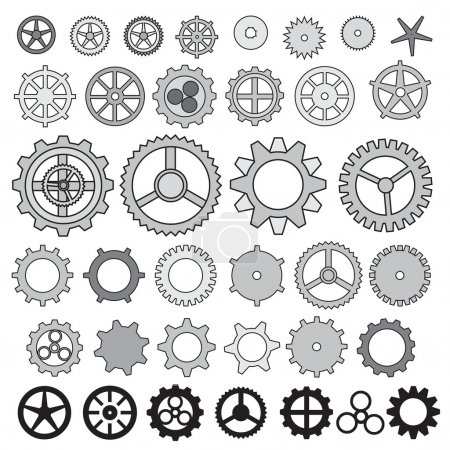 Illustration for Steampunk gear collection machine gears, wheel cogwheel vector, set of gear wheels, set of vector icons gear. - Royalty Free Image
