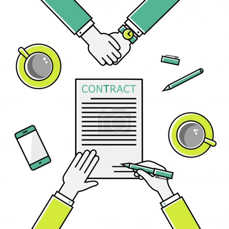 Business man hands holding contract, signing of a treaty business contract flat design vector linear icons illustration