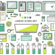 Linear workplace icons collection, flat style icons set of a top view, green bright color.  Signs hand gestures. Workspace objects elements office worker, designer, manager, schoolchild. Stationery