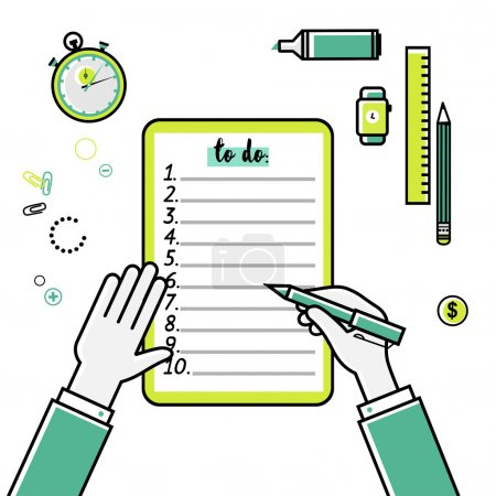 Business goals checklist. Vector flat linear icon. To do list. Top view. Idea - Business planning, my goals, management and company strategy concept