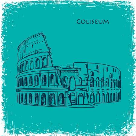 Rome building hand drawn vector illustration. Italian landmark Coliseum