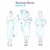 Transformer dresses women clothes and accessories hand drawn sketch instruction how to wear a universal dress tutorial