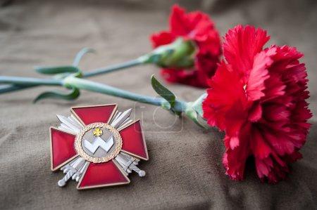 Photo pour Ordre de Bogdan Khmelnitsky (Ukraine). Nature morte dédiée au Jour de la Victoire. Le 9 mai. - image libre de droit
