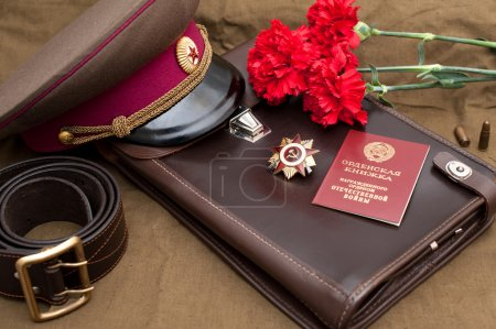 Photo pour Still life with vintage objects dedicated to Victory Day. Order of the patriotic war 1st class. 9 May - image libre de droit