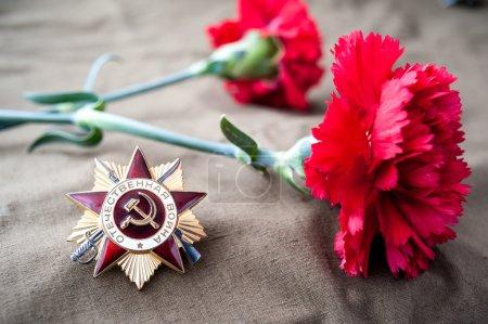 Photo pour Ordre de la classe de 1ère guerre patriotique et deux oeillets rouges. Nature morte, dédié à la fête de la victoire. 9 mai. - image libre de droit