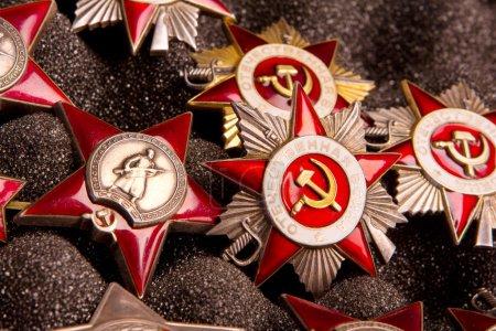 Photo pour Ensemble d'étoiles militaires soviétiques (Guerre patriotique, Prolétaires de tous les pays, unissent, Urss) - image libre de droit